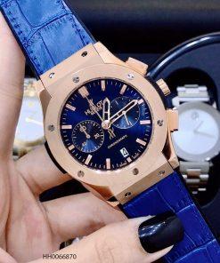 đồng hồ nam hublot big bang chonograp dây cao su xanh viền vàng cao cấp giá rẻ