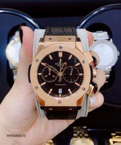 đồng hồ nam hublot big bang chonograp dây cao su đen viền vàng cao cấp giá rẻ
