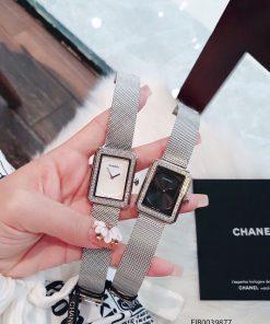 đồng hồ đeo tay chanel vuông dây lưới mặt đen cao cấp giá rẻ
