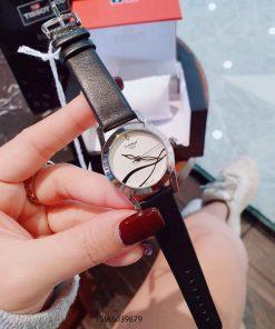 Đồng hồ Tissot 1853 nữ hoạt tiết dây da bạc viền bạc cao cấp