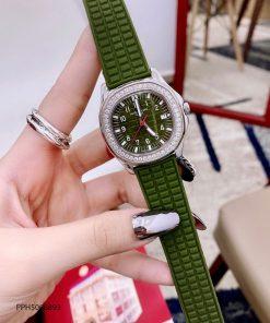 Đồng hồ Patek Philippe Nautilus Lady nữ dây cao su xanh riêu