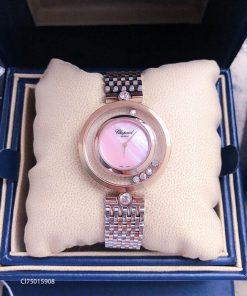 Đồng hồ Chopard dòng Happy Diamond demi mặt hồng replica 1:1