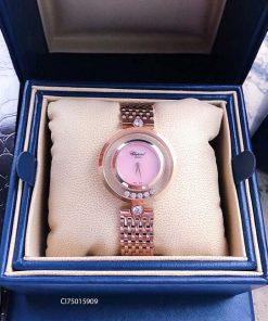 Đồng hồ nữ Chopard dòng Happy Diamond mặt hồng replica 1:1