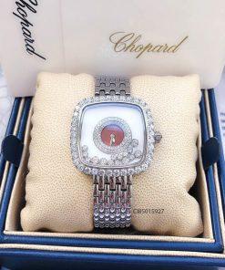 Đồng hồ nữ Chopard dòng Happy Diamond mặt vuông đỏ replica 1:1