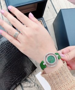 Đồng hồ đeo tay nữ Chopard Happy Diamond dây da xanh replica 1:1