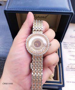 Đồng hồ đeo tay nữ Chopard dòng Happy Diamond đá xoay đỏ replica 1:1
