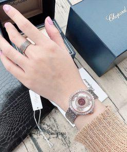 Đồng hồ đeo tay nữ Chopard dòng Happy Diamond demi đỏ replica 1:1