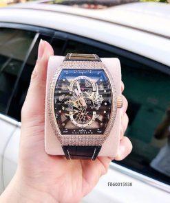 Đồng hồ nam Franck muller Vanguard V45 SC DT lộ cơ Thụy Sĩ viền vàng Fullbox giá rẻ