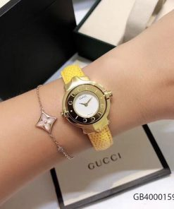 Đồng hồ nữ Gucci Vintage dạng lắc dây da vàng cao cấp fullbox