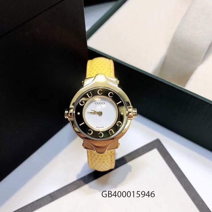Đồng hồ nữ Gucci Vintage dạng lắc dây da vàng cao cấp giá rẻ fullbox