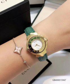 Đồng hồ nữ Gucci Vintage dạng lắc dây da xanh cao cấp giá rẻ fullbox