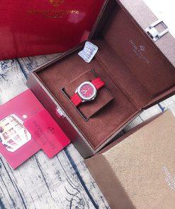 Đồng hồ Patek Nautilus Philippe nữ dây cao su đỏ cao cấp fullbox