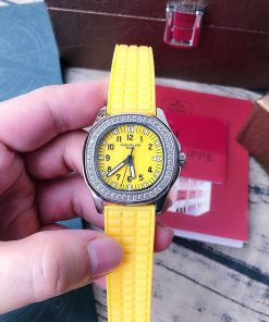 đồng hồ Patek Philippe Nautilus Lady nữ dây cao su cam cao cấp fullbox