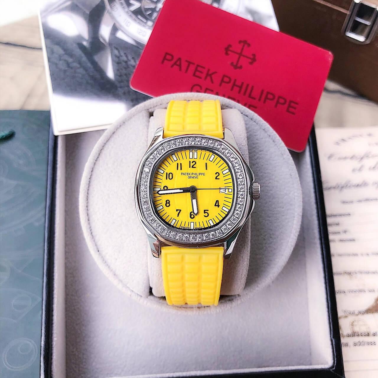 đồng hồ Patek Philippe Nautilus Lady nữ dây cao su cam cao cấp