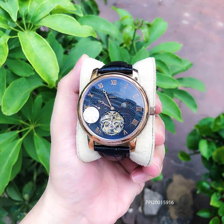 Đồng hồ nam Patek Philippe máy Thụy Sĩ dây da cao cấp