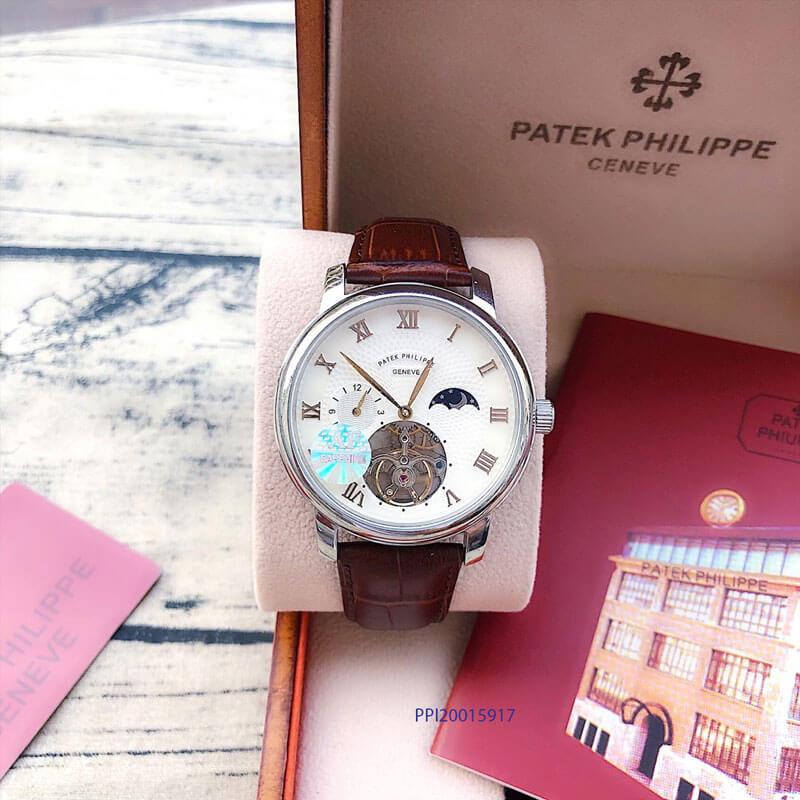 Đồng hồ nam Patek Philippe máy Thụy Sĩ dây da nâu cao cấp giá rẻ
