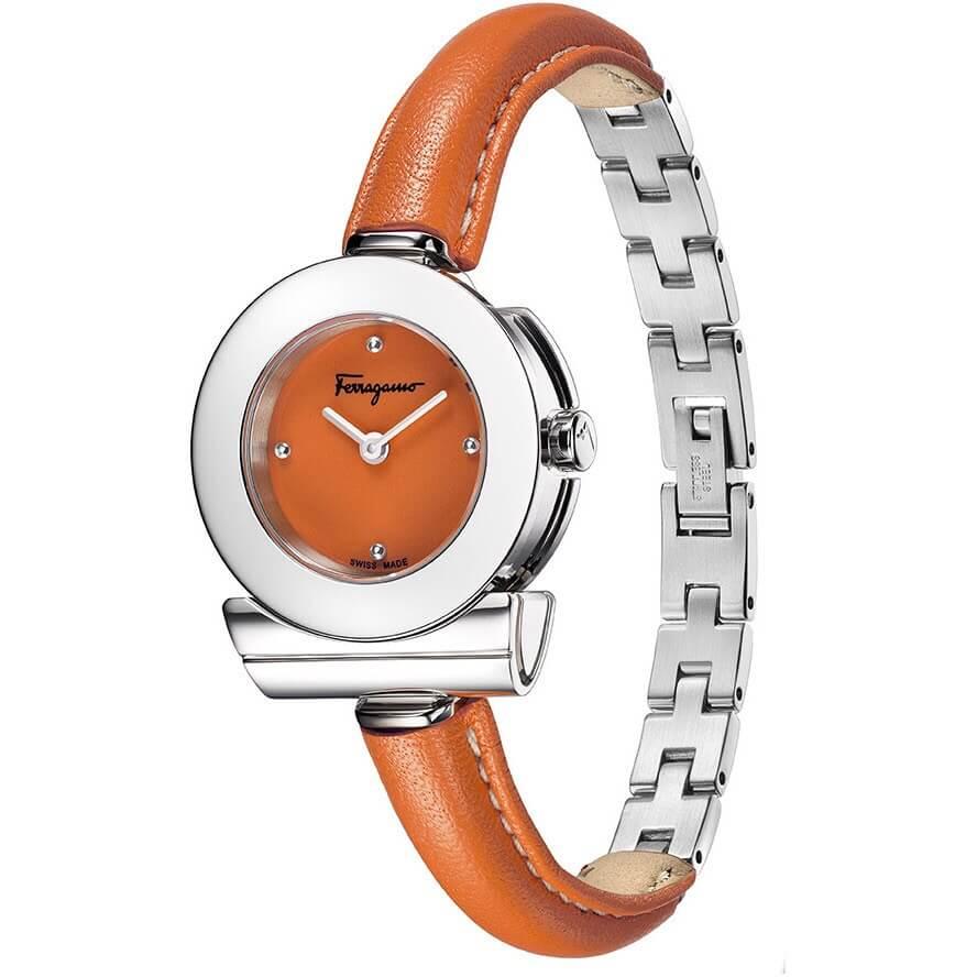 Đồng hồ nữ Ferragamo Gancino Bracelet dây da bò cam máy thụy sĩ cao cấp