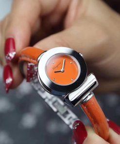 Đồng hồ đeo tay nữ Ferragamo Gancino Bracelet dây da bò cam máy thụy sĩ cao cấp fullbox