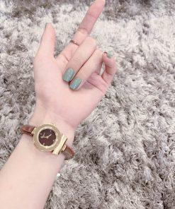 đồng hồ đeo tay nữ Ferragamo Gancino dây da bò nâu máy thụy sĩ cao cấp fullbox