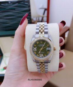 Đồng hồ Rolex ngọc trinh dây kim loại đính đá