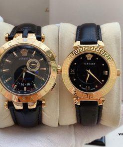 đồng hồ cặp đôi versace dây da cao cấp