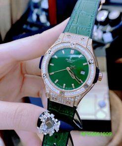 Đồng hồ Hublot Geneve Nữ xanh viền đính full đá cao cấp