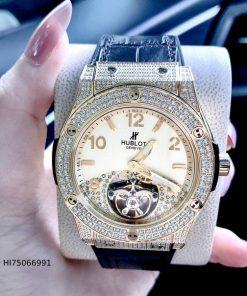 Đồng hồ Hublot Nam máy cơ nhật bản viền vàng đính đá cao cấp