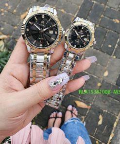 Đồng Hồ Rolex Nam Nữ dây demi vàng mặt đen đính đá giá rẻ