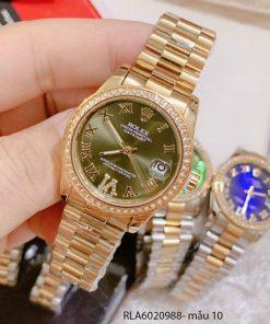 đồng hồ nữ rolex viền đá vị trí 6 dây kim loại giá rẻ