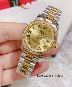 đồng hồ nữ rolex viền đá vị trí 6 mặt vàng giá rẻ