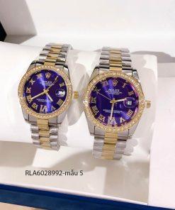 Đồng hồ rolex cặp viền đá mặt số la mã dây demi giá rẻ