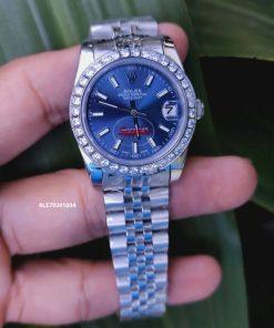 Đồng hồ Rolex nữ viền đính đá dây thép không gỉ cao cấp