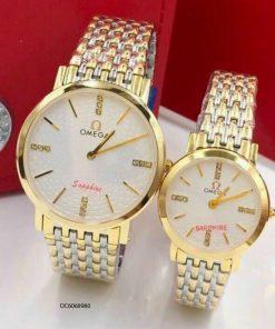 Đồng hồ cặp Omega dây thép không gỉ giá rẻ