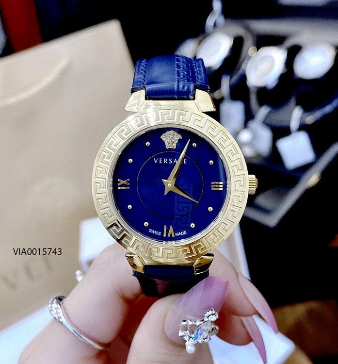 đồng hồ versace nữ dây da xanh