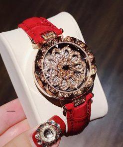 Đồng hồ Guou chính hãng mặt hoa đính kim cương