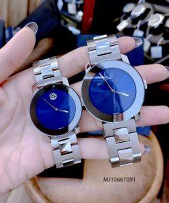 Đồng hồ cặp đôi Movado dây thép không gỉ bạc mặt đen