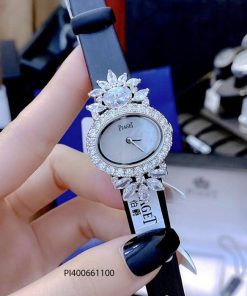 Đồng hồ Piaget White Gold Sapphire Diamond Luxury Dây Da