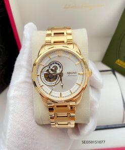 Đồng hồ Seiko nam dây kim loại mạ vàng