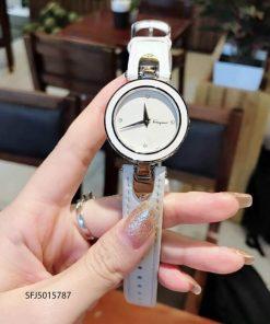 Đồng hồ nữ Salvatore Ferragamo dây da trắng máy thụy sĩ cao cấp