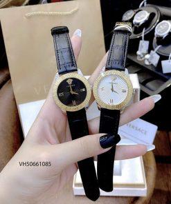 Đồng hồ Versace Greca Signature Leather dây da đen cao cấp