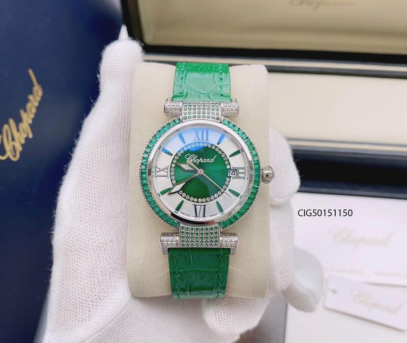 Đồng hồ nữ Chopard Imperiale dây da màu xanh