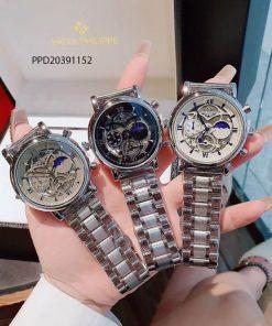 Đồng hồ nam Patek Phillip máy cơ giá rẻ dây thép không gỉ bạc