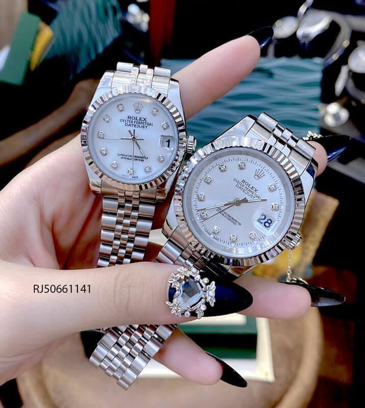 Đồng hồ cặp Rolex máy cơ nam, nữ dây thép không gỉ mẫu 2021