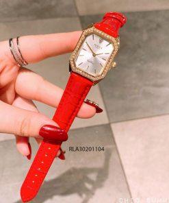 đồng hồ rolex nữ dây da đỏ viền vàng mini giá rẻ