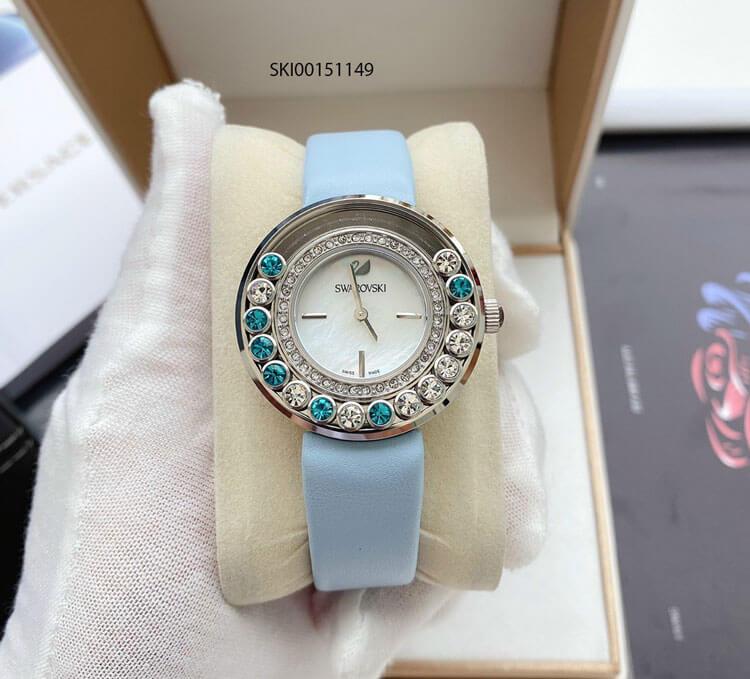 Đồng hồ Swarovski Diamond nữ viền đính đá Bezel cao cấp dây xanh ngọc