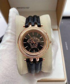 Đồng hồ Versace nữ viền đá dây da màu xanh, đỏ, đen cao cấp
