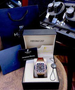 Đồng hồ Hublot Nam Senna Champion 88 dây cao su bọc da màu nâu