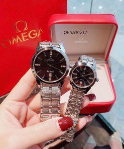 Đồng hồ cặp Omega dây thép không gỉ cao cấp