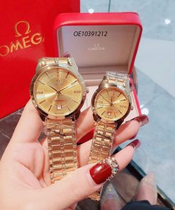 Đồng hồ cặp Omega dây thép không gỉ máy nhật cao cấp