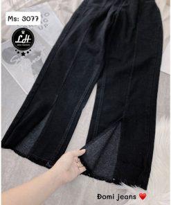 quần jean ống rộng dài đen